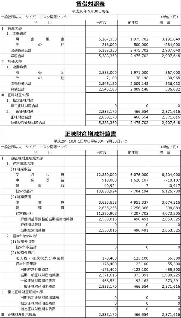 決算公告(平成30年) 賃借対照表